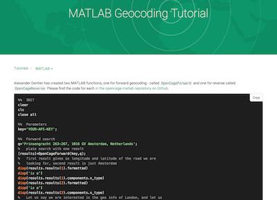 Geocode in MATLAB